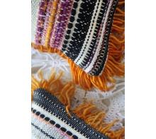 ORANGE FRINGE HANDWOVEN PILLOW/ Sister Pillow