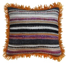 Orange Fringe Handwoven Pillow