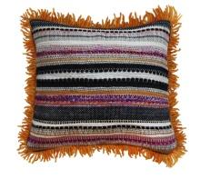 Orange Fringe Handwoven Pillow