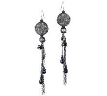 Black Lace Druzy Earrings