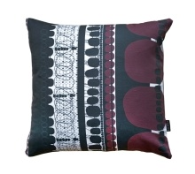 Burgundy Folklore Square Pillow